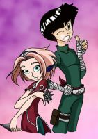 Rock Lee and Skaura by MoostarGazer