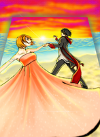 LuffyxNami Sunset Dance by Zinfer