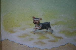 detail, Dog playing in surf by MuralsbyLeBold