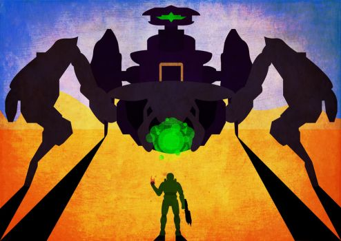 Master Chief vs Scarab by AndyDaRoo