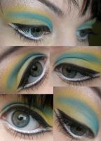 blue and yellow makeup by VanillaBlitz