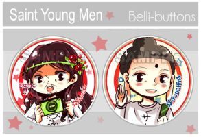 Saint Young Men Button Design by jinyjin