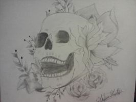 Skull with flowers by minnight