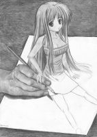 Drawing anime girl by Anetteee