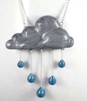 Rainy Day Rain Cloud Necklace by NeverlandJewelry