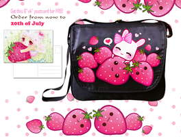 Bunny and strawberries messenger bag by tho-be