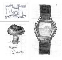 Digital Shroom, Watch and Flag by kobi