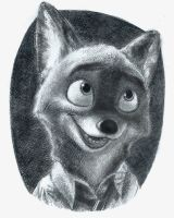 Disney's 'Zootopia:' Nick Wilde Graphite Drawing by Alexbee1236