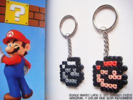 Super Mario Land 2 | HUD Icon Keychains by nintentofu