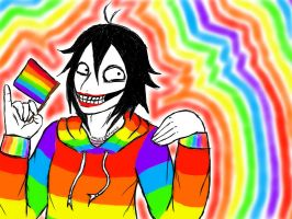 Jeff the Rainbow-Clad Killer by KaleidoscopicFungi