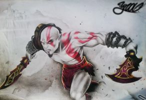 kratos god of war by yrastilo