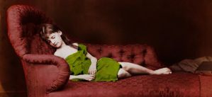 Xie Kitchin Asleep on Sofa in color by james3