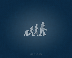 Robot Evolution Denim Wallpaper in Blue by averywebdesign