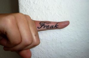 lettering finger tattoo by D3adFrog