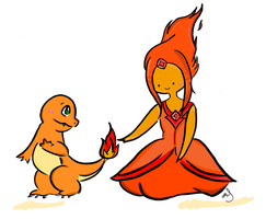 Flame Princess and Charmander by msappy