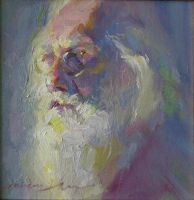 Hai-Ou Hou - Bearded Man - 8x8 - $1,600 by OilPaintersofAmerica