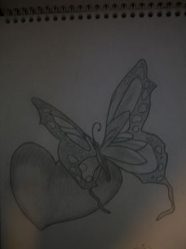 butterfly with heart by BrittanyAnnxOx