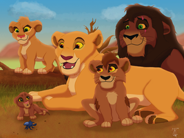 Kovu and Kiara family by JR-Style