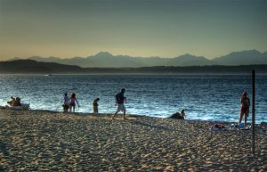 Alki Beach - Mountains by Veegie