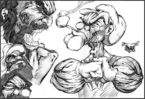 Popeye Bluto Showdown by roo157