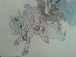 Luna and Nightmare Moon by FlutterSquee6