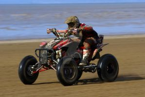 Stef Murphy rides into the Sun @ Weston Beach Race by Petrol-Head-Images