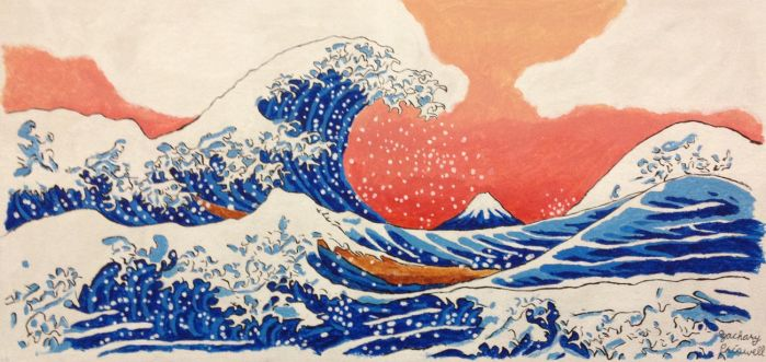 The great Wave off Kanagawa at Suunset by TheBluePenguin8