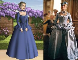 Marie Antoinette: Blue Tricorn Gown by Inuyashasmate