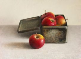 Apples in cookie box by josvanr