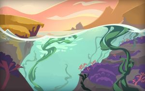 Animal Jam Cliff and Water Background by DigiPonyTheDigimon