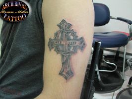 Corys cross finished by theothertattooguy