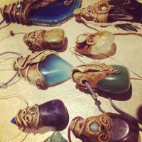 Gemstone Necklaces with Handmade Clay Settings by tegan159