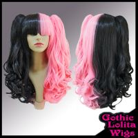 Split Black and Deep Pink Wig by GothicLolitaWigs