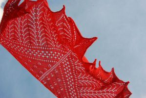 Red hand knit lace shawl by NitkaAG