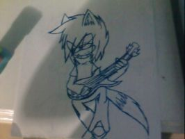 dani the emo wolf guitar in paper ewe(? by Dess-KunPS