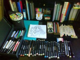 My everyday desk (with my drawing tools) by yoolin