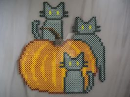 Pumpkin Kitties by PerlerHime