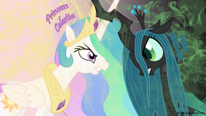 Princess Celestia VS Queen Chrysalis Wallpaper by brightrai