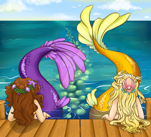 Mermaids by the Sea by Tiki-Sama