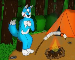 Bluie Is Camping by BluefordTheWolf