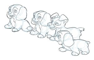 Lady and the Tramp puppies by PhillieCheesie