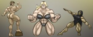 Practicedrawing: Muscular Women - colored/shaded by Node-Gamer