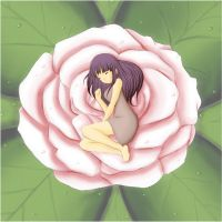 Hinata Sleeping in a Rose by Minnietta