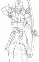 Sketch of Connor armed with bow and arrow by SusannaBautista
