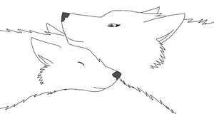 wolf couple lineart by michy123