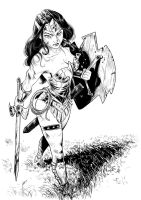 comission warrior wonder woman - ink by kikomauriz