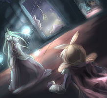 Battle with ghost of the hanged woman by kango67