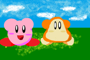 Kirby and Waddle Dee by DominicSega123