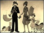 1920's Fox Family-Sepia Color by FlapperFoxy