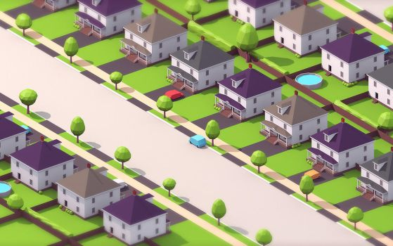 low-poly suburb by ChestyMcGee